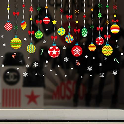 (New Christmas New Year Wandaufkleber Cartoon Bunte Weihnachten Hängende Kugel Weihnachtsdekoration Glasfenster)