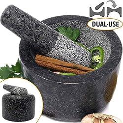 Mortier et Pilon en Granit Large 14cm - Double Usage sur deux face - Ezo.Home