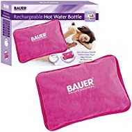 Bauer Rechargeable Electric Hot Water Bottle with Soft Touch Cover, Pink, Long Lasting Warmth