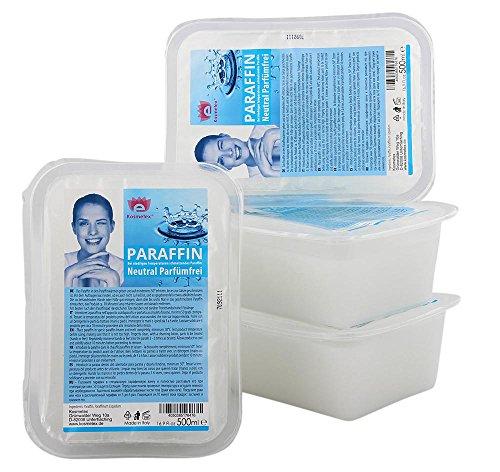 Kosmetex Paraffinwachs Neutral Parfümfrei Paraffin, Natural Paraffinbad mit niedrigeren Schmelzpunkt, 4x 500ml Neutral