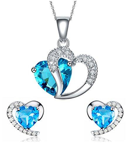 Findout argento swarovski sterling ametista blu di cristallo del cuore forma cubica zirconi set orecchini e pendente della collana / braccialetto d'argento (f1682) (blu pendant + earring)