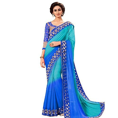 Jashvi Creation Women's Georgette Partywear Saree With embroidered Blouse Piece (party wear,wedding wear,regular wear)