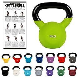 MSPORTS Kettlebell Neopren 2 - 30 kg inkl. Übungsposter (6 Kg - Grün) Kugelhantel