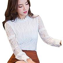 Mujeres Camisetas Tops y Blusas Camisa de Trabajo de Oficina con Rayas de Encaje Floral para