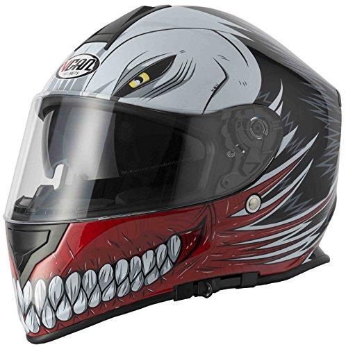 Caschi Integrale: Nuovo Stile Caschi Faccia VCAN V127 CAVA GRAFICO ACU Completa, Moto Sportiva Casco (Rosso) (M)