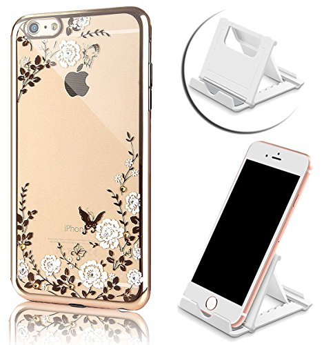 iPhone SE Hülle, iPhone 5S Hülle, iPhone 5 Hülle, Vandot Ultra Thin TPU Silikon Schutzhülle für iPhone SE 5S 5 Case Cover Plating Glänzend Transparent Luxus Diamant Rhinestone Bling Muster Pattern Tel Color 3