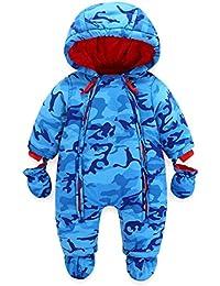 Bebé Traje de Nieve Niño con Capucha Invierno Mameluco Cremallera Frontal