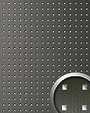 Wandpaneel Quadrat Dekor Design WallFace 12557 3D QUAD Wandplatte selbstklebend grau silber   2,60 qm