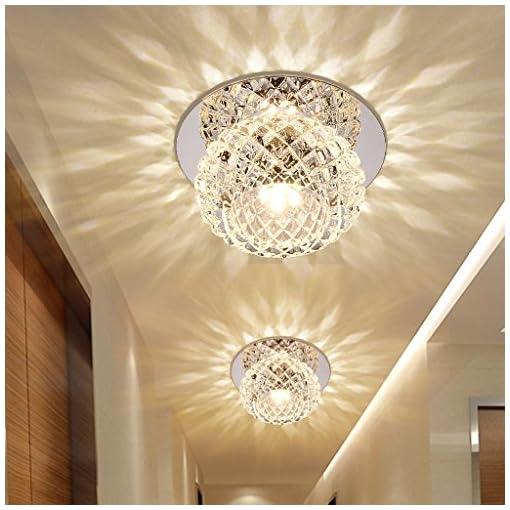 Plafoniera LED 5W moderna, a incasso, illuminazione a incasso, lampada da soffitto e da parete, pallini, cristallo, rotonda, effetto, lampada per corridoio, anticamera Ø 12cm