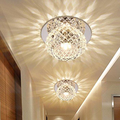 5W LED Deckenleuchte Modern Unterputz Einbauleuchte Beleuchtung Decken und Wandleuchte Spots Kristall Runde Effekt Lampe für Flur, Vorraum Ø 12CM , warmweißes Kleine Kristall-leuchte