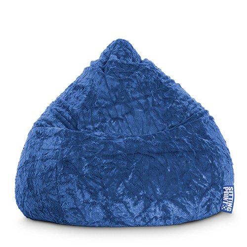 Sitzsack aus Webplüsch in blau, Beanbag Fluffy XL, Material 100 % Polyester, Füllung aus 100 % EPS-Perlen, 220 l Volumen, Maße B/H ca. 70/110 cm