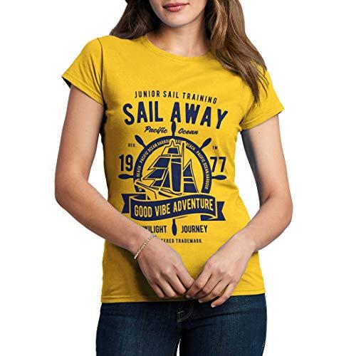 B444WCNTY Damen T-Shirt Sail Away Navy Anchor Diver Deep Sea Nautical Ship Scuba Diving Exploration Vintage(XX-Large,Yellow)