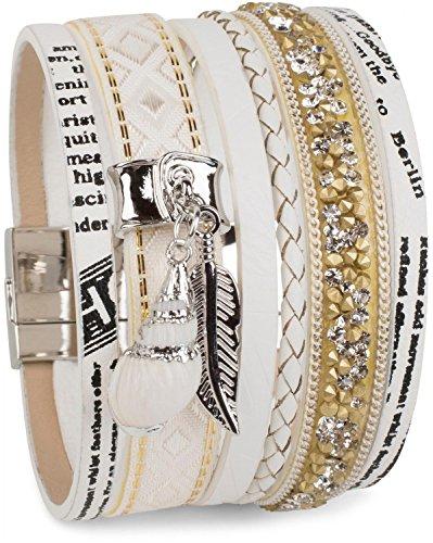 styleBREAKER Armband mit Feder und Muschel Anhänger, Strasssteine, Ethno Stoff, Print, Magnetverschluss, Damen 05040044, Farbe:Weiß