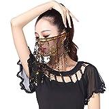 Fushkong Frauen Bauchtanz Masked Veil, Pailletten Fransen Schleier Kleidung Zubehör