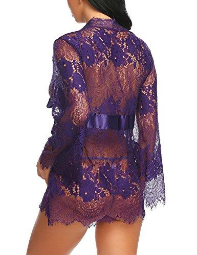 Avidlove Damen Kleid Gown Kurz Dessous Kimono Spitze Weiter Ärmel Transparente Robe Mesh mit Gürtel und G-String Bikini Cover Up Spitze Sommer Bat Weiter Ärmel C Lila