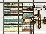 Fliesen-Sticker Aufkleber Folie selbstklebend | Fliesenspiegel Dekorationssticker Bad renovieren Küche Bad Ideen | 20x20 cm Design Motiv Schiffsbruch - 4 Stück