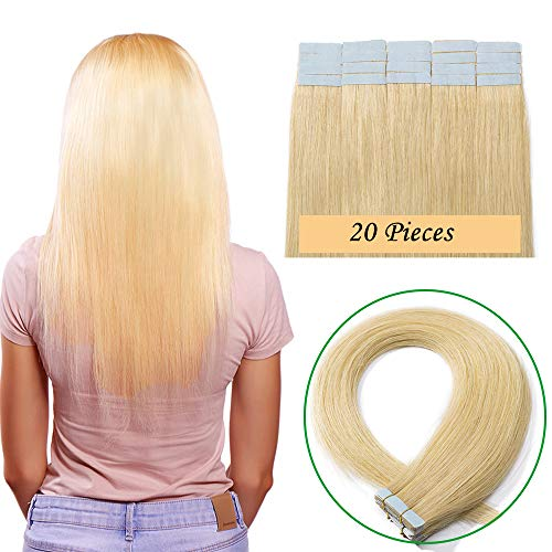 Extension capelli veri 20 fasce adesive 100% remy human hair tape extension con biadesivo 40g - 14