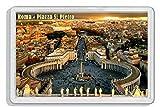 AWS - Imán de PVC duro con imagen de la plaza de San Pedro de la Ciudad del Vaticano en Roma, Italia. Souvenir para la nevera de plástico duro con imagen fotográfica de la ciudadPlaza de San Pedro.