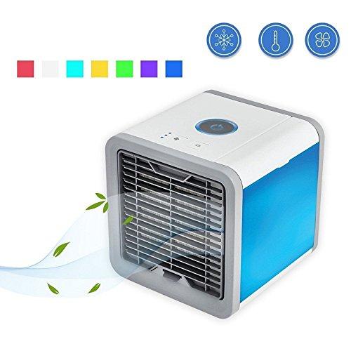 PDFGO Tragbarer Mini Air Luftkühler Mobile Klimageräte Luftkühler USB Klimagerät 3 In 1 Luftbefeuchter Und Luftreiniger Einstellbare 7 Farbe,White-14.1*14.1*17.5CM
