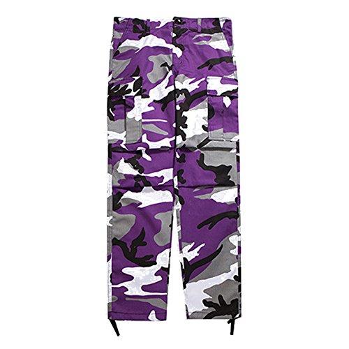 Juleya Cargo Pants Männer Frauen Camouflage Hose Lose Hip Hop Sweatpants Lila M
