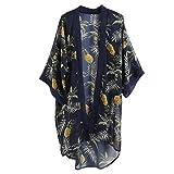JAGETRADE Womens Sommer Country Style Halbarm Badeanzug Cover Up Boho Farbige Ananas Digitaldruck Kimono Cardigan Asymmetrischer Saum Reise Lose Schal