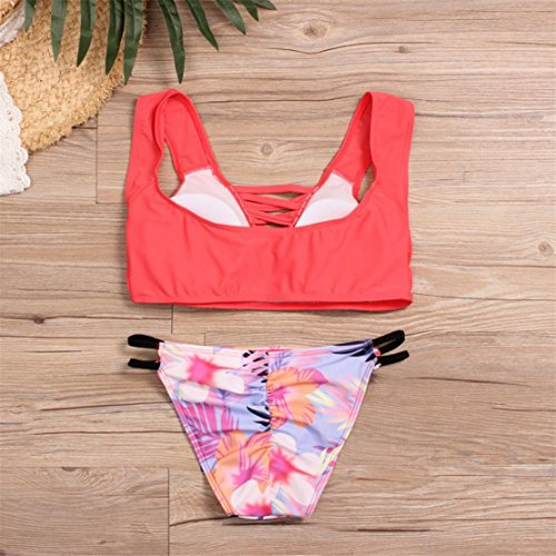 Bluestercool Costumi Donna Mare Due Pezzi Bikini Push Up Sexy Rosso