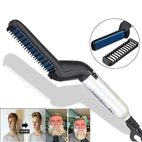 Peine de pelo para barba eléctrico, para hombres, alisador de pelo de barba con calor y multifuncional, peine de estilo rápido, rizador de pelo, peine de masaje mágico