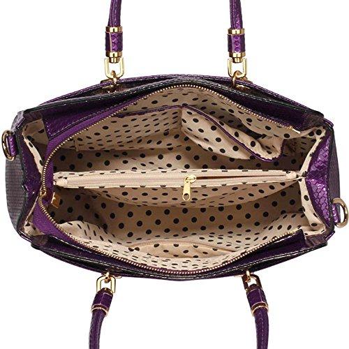 TrendStar Damen-Taschen-Tasche Schultertasche Promi-Art-Frauen Entwerfer Poliertes Hardware Faux Leder Lila