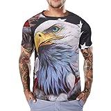 HCFKJ T-Shirt Blusen Herren, Lustige Jungen Männer Flagge Gedruckt Sommer Kurzarm T-Shirts Top T Bluse (L2, WH)