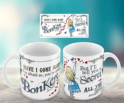 Alice im Wunderland Have I Gone Mad Keramik Tasse und Geschenk box-bonkers Herzen -