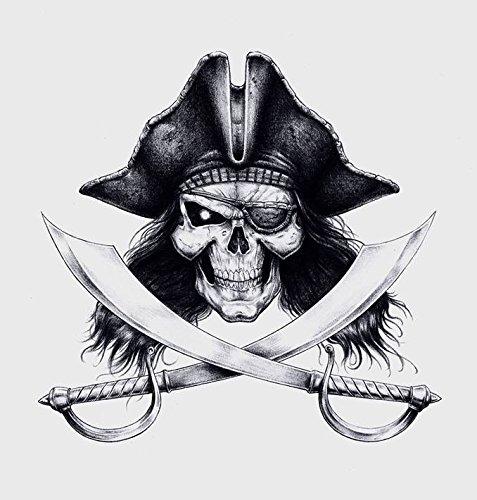 Piraten Schädel Aufkleber Sticker Skull Seeräuber ca. 12x12 cm -