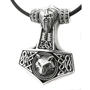 Anhänger Thors Hammer mit Antlitz und Wolf 925 Sterling Silber