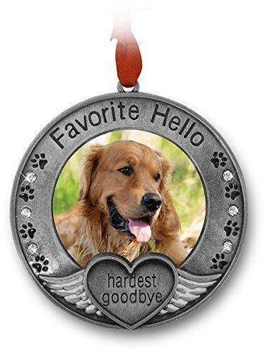 Banberry Designs Gedenktafel für Haustiere-Bild Ornament Ornament für A Pet-Gravur mit Dem Spruch Favorite Hello, härtesten Goodbye, Pet Remembrance -
