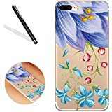 Floral Flor Funda Para IPHONE 6S Plus, Flower Case Cover Para iPhone 6 Plus, leeook Schön creativos Lovely Cool Lila Amarillo Flores Verde Hojas Multicolor Pintura Patrón Bosquejo transparente suave Soft TPU atrás parte trasera Bumper Gel Transparente Phone Case Cover Funda Funda Carcasa Alto de llamas Protektiv silicona Silicone Skin Shell para Iphone 6S Plus/6 Plus (5.5 pulgadas) + 1 x Negro Lápiz de Purple Yellow Flower Green Leaf