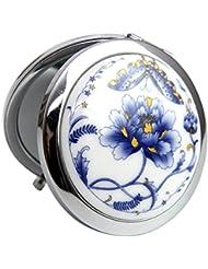 Toruiwa Miroir de Maquillage en Métal avec Décoration Broderie Miroir de Poche Mirroir à Main Mirroir Portable...