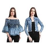 Girls Shopping Denim Jacket & Off Shoulder Top for Girls/Women(Pack of 2)
