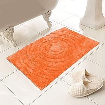 Tonyu0027s Textiles Luxury 100% Cotton Heavy Weight Circles Design Bright  Orange Bath Mat Rug (Standard)