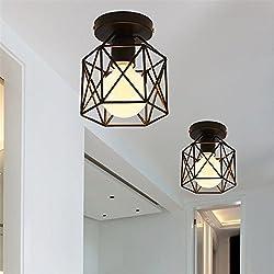 Plafón empotrable de Techo Retro 220V, lámpara de lámpara negra cuadrada de metal antiguo 1-luce, aparato, lámpara Colgante de metal, Color Negro (bombilla No incluida)