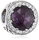 Pandora Damen-Bead Violettfarbener Strahlenkranz der Herzen 925 Silber Zirkonia lila - 791725NRP