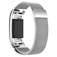For Fitbit Charge 2-Milanese Loop Stainless Steel Metal Bracelet Strap with Unique Magnet Lock, No Buckle Needed for Fitbit Charge 2 HR Fitness Tracker-Silver