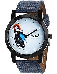 Evelyn Analogue Mahadev Print White Dial Blue Leather Belt Wrist Watch For Men & Boys|Shiv Bhakt Edition