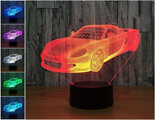 W-ONLY YOU-J 3D Kleine Nachtlicht Sport Auto Bunte Vision LED Lampe Intelligent Home Dekorative Lampe Weihnachtsgeschenke (Control / Touch)