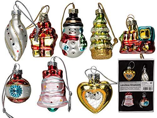 Mc trend - decorazione natalizia a forma di albero di natale, in vetro, circa 5 cm in confezione regalo (set da 8)