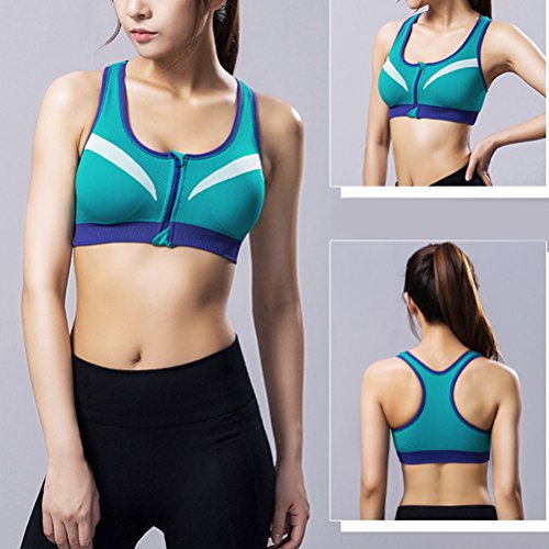 Zhhlaixing Women Fitness Yoga Sports Bra for Running Gym Padded Wirefree Shakeproof Underwear Push Up Seamless Front Zipper Top Bra blue