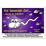 Einladungskarten für runden Geburtstag lustig witzig - kostenloser Eindruck Ihres Textes verschiedene Größen, 10 Karten - DIN A5 oder B6