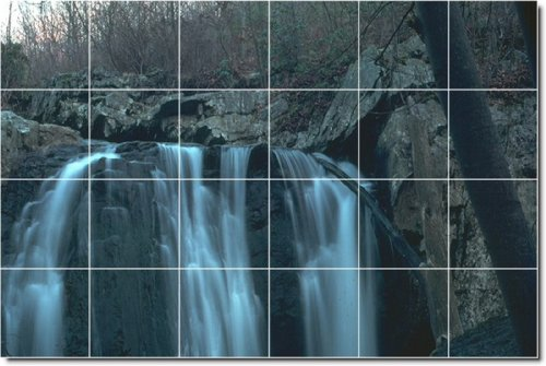 CUSTOM BUILD CASCADAS FOTO MURAL 9  17 X 64 77 CM CON (24) 4 25 X 4 25 AZULEJOS DE CERAMICA