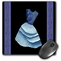 Jaclinart Dress Flowers Floral Nature Damask Ribbons - Blue flowered top dress on black backround with damask ribbons - MousePad (mp_30254_1)