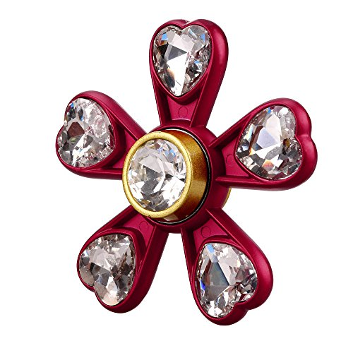 Five Leaf Shape Gyro Hand Spinner Focus Love Artificial Diamond Toys Fidget Austism ADHD Toys Choice Lanspo (Red)