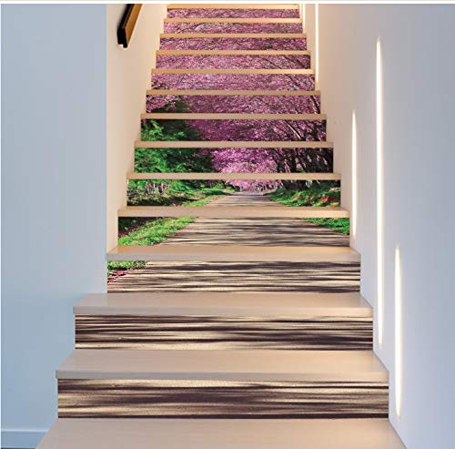 yuyu-beautiful Sakura Trail Wall Stickers Mural Stair Decal Natural Landscape Creative Corridor Floor Sticker Passageway Covering Sakura Natural
