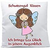 Kissen mit Namen Wunschtext Schutzengel Mädchen hellbraune Haare 40x40 cm inkl. Füllung...